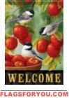 Apple Harvest Chickadees Garden Flag