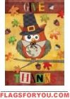 Give Thanks Owl Garden Flag