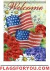 American Flag & Flowers House Flag