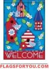 Patriotic Birdhouse House Flag