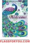 Peacock Welcome Garden Flag
