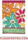 Floral Welcome Applique House Flag