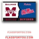 OLE MISS REBELS / MISS ST BULLDOGS House divided 3X5 Flag