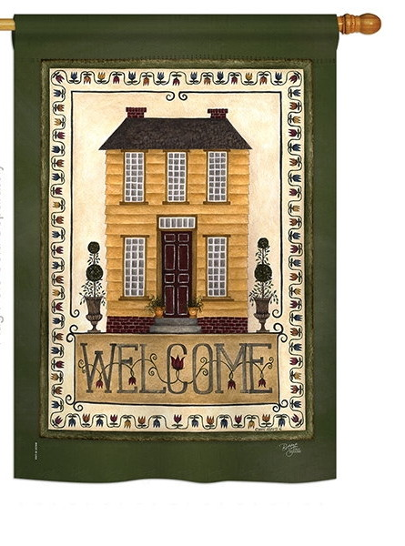 Yellow House Welcome Garden Flag