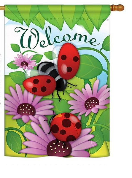 Welcome Ladybug House Flag