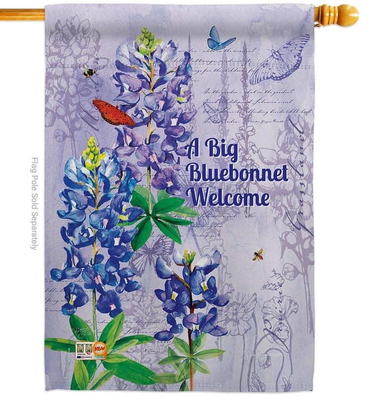 Bluebonnet Welcome House Flag