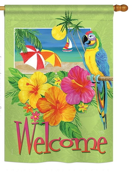 Tropical Welcome House Flag