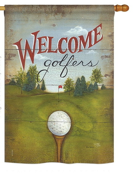 Welcome Golfers House Flag