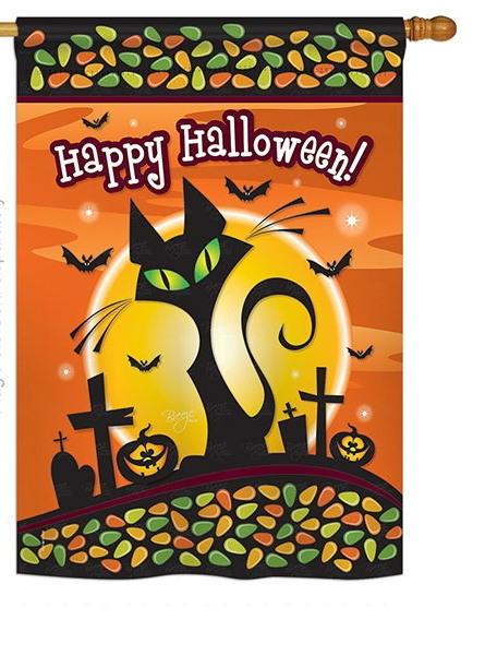 halloween black cat house flag & more garden flags at flagsforyou