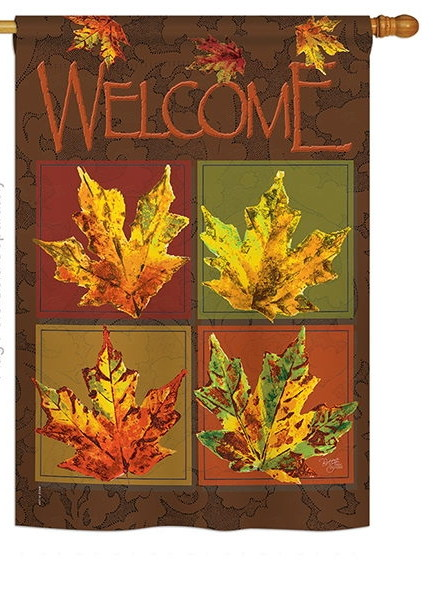 Fall Leaves Collage House Flag & more garden flags at FlagsForYou.com