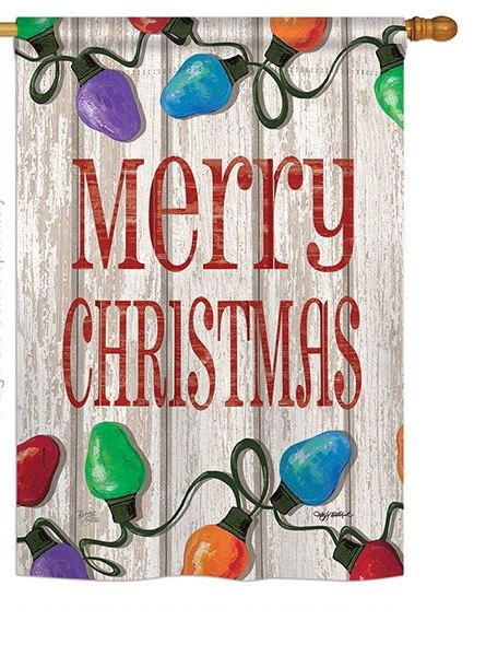 bright merry christmas house flag