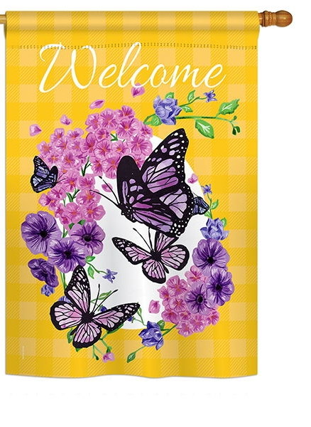 Welcome Butterflies Bouquet House Flag