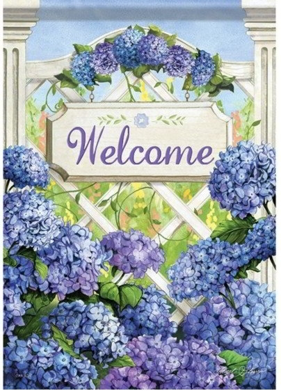 Garden Gate Hydrangea Dura Soft House Flag
