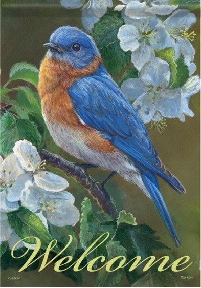 Bluebird Blossoms Dura Soft House Flag