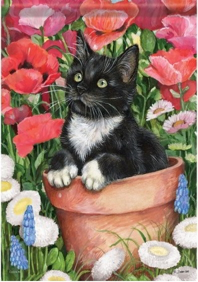 Flower Pot Kitten Dura Soft House Flag