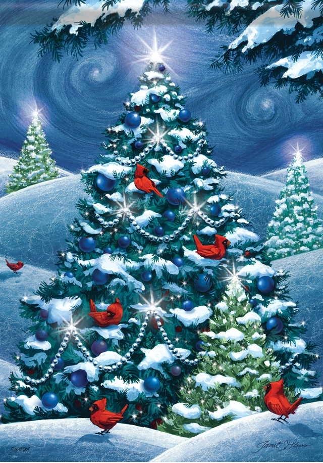 christmas trees house flag