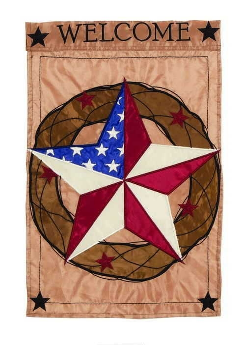 Barnstar Welcome Single Applique House Flag