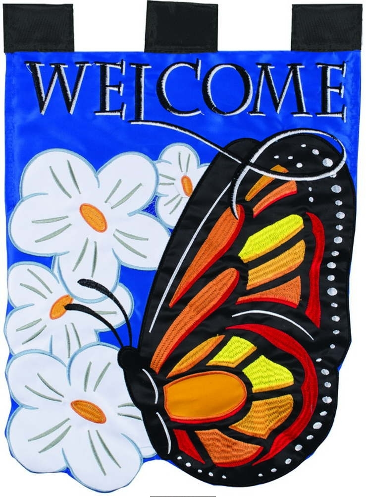 Butterfly Welcome Double Applique Garden Flag