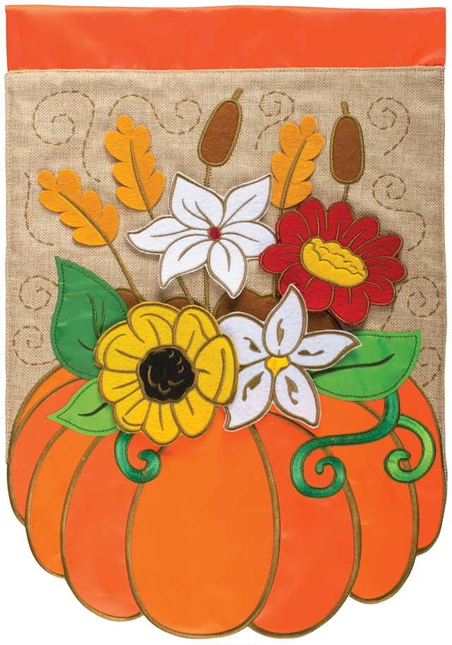 Pumpkin Floral Double Applique Garden Flag