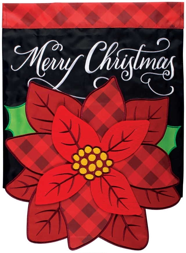 Plaid Poinsettia Double Applique Garden Flag