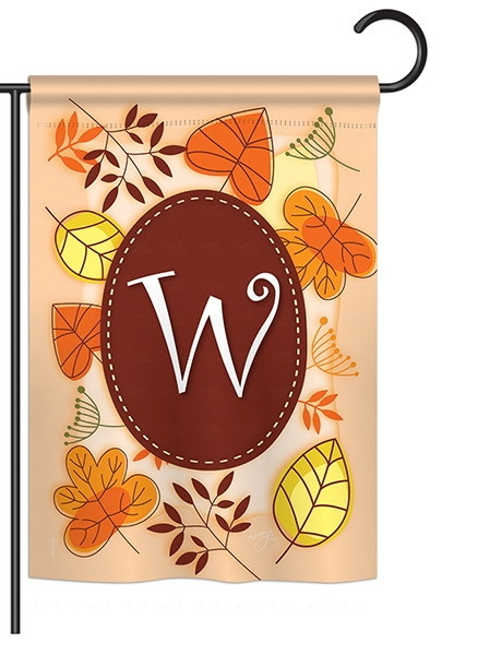 Autumn W Monogram Garden Flag