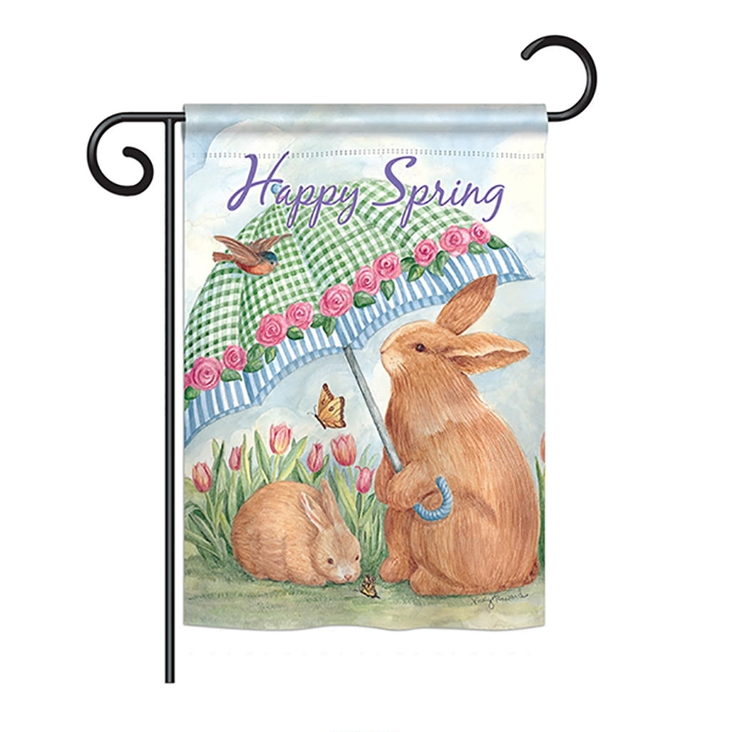 Bunnies With Umbrella Garden Flag
