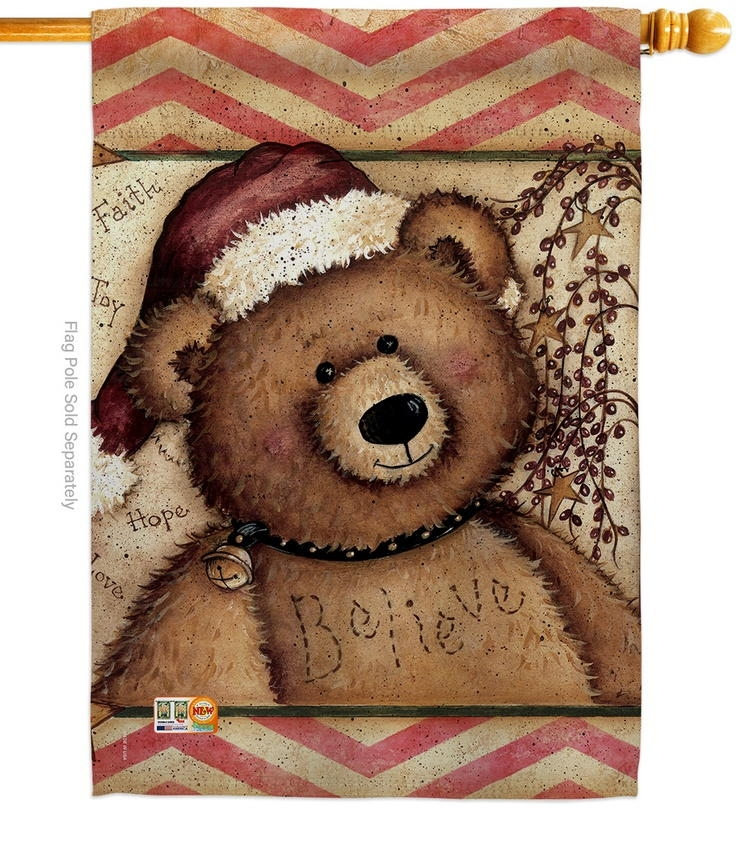 Winter Joy Teddy House Flag