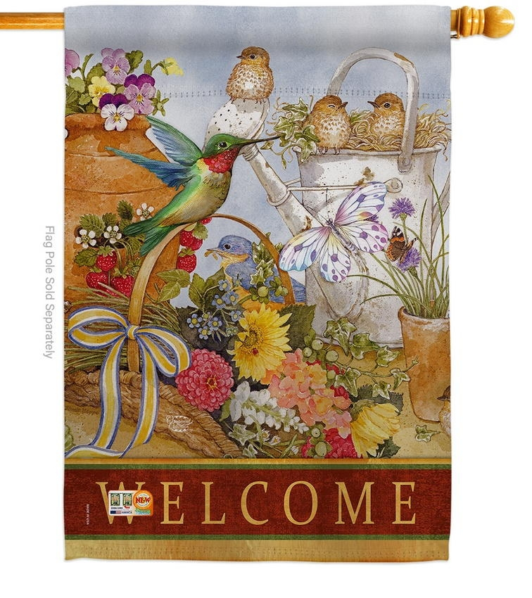 Welcome Spring Birds Decorative House Flag