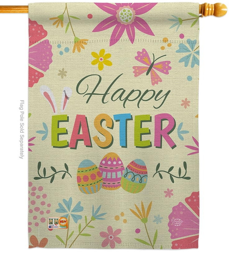 Happy Easter Colourful Flowers House Flag