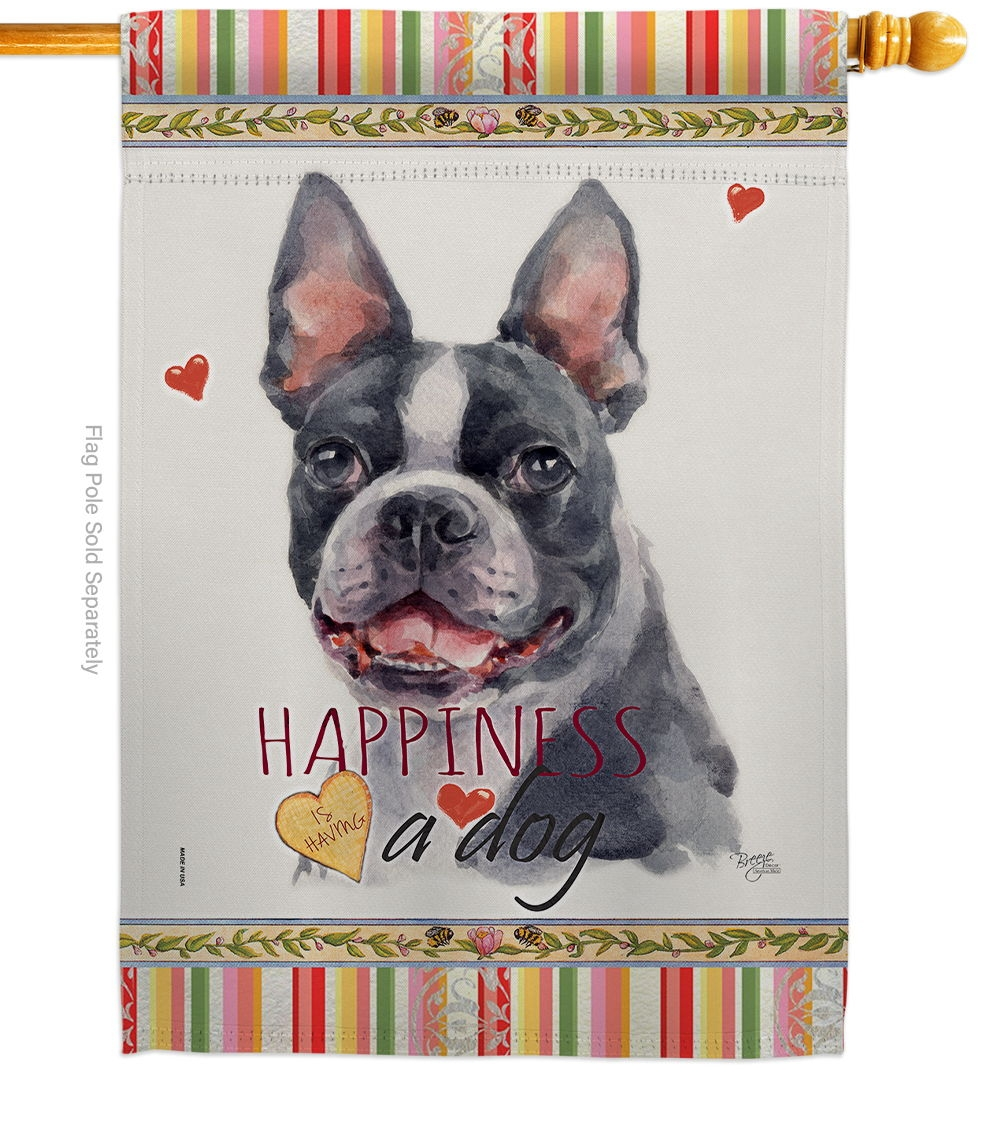 Boston Terrier Happiness House Flag
