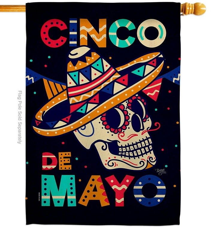 Skull Cinco De Mayo House Flag