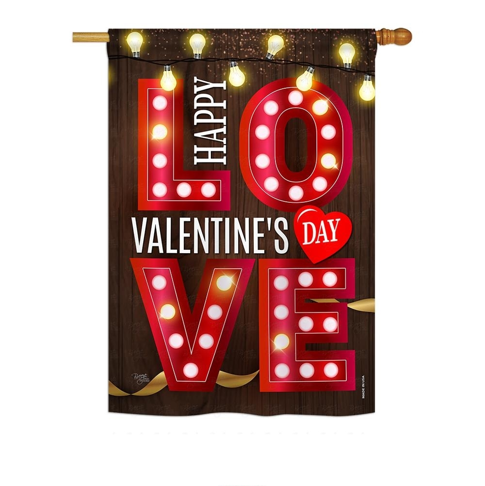 Lightful Valentine Love House Flag