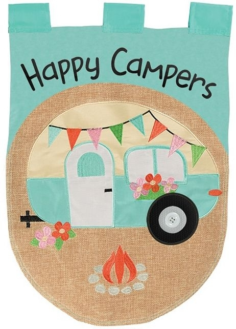 Happy Campers Burlap Applique Garden Flag