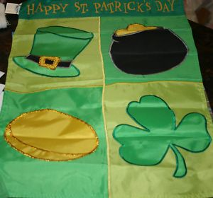 applique St. Patrick's Icons Garden Flag - 5 left