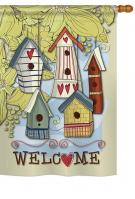 Birdhouse Village House Flag