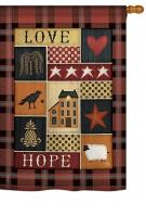 Primitive Collage Love Hope House Flag
