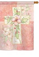 Pink Flower Cross House Flag