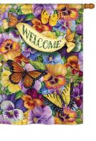 Pansies with Butterflies House Flag