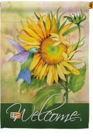 Sunflower With Hummingbird House Flag