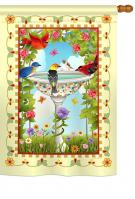 Bathing Birds Ivory House Flag