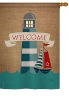 Lighthouse & Sailboat House Flag