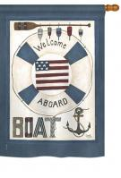 Welcome Aboard Boat House Flag