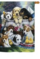 Bath Time Puppies House Flag