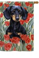 Dachsund In Tulips House Flag