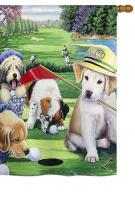 Golfing Puppies House Flag