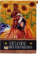 Country Rooster Decorative House Flag