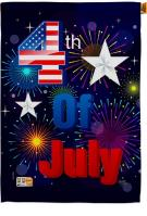 Fireworks July 4th Decorative House Flag