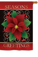 Seasons Greetings Poinsettia House Flag