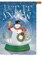 Snow Globe Snowman House Flag