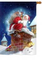 Chimney Santa House Flag